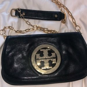 Authentic Tory Burch black and gold crossbody